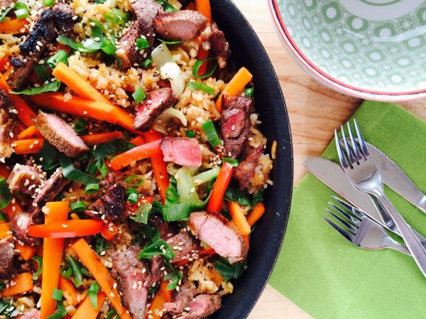 Asian Spiced Lamb with Sesame Fried Rice (Low FODMAP)