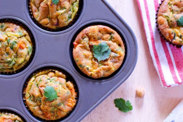 Low FODMAP Curried Carrot Chickpea Frittatas