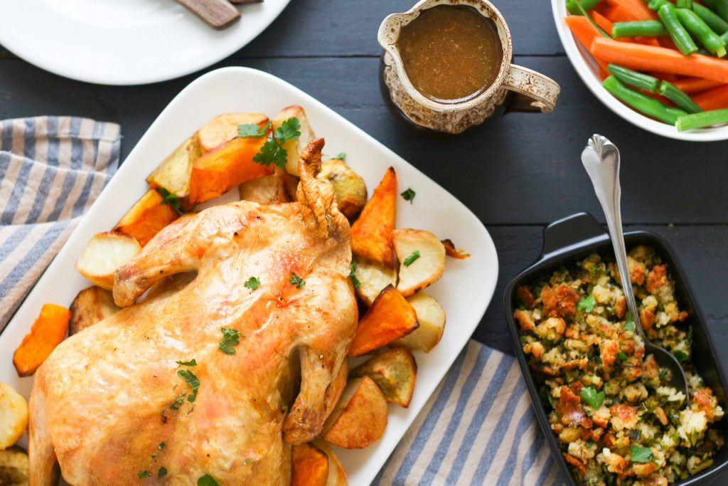 Low FODMAP Roast Chicken with Stuffing