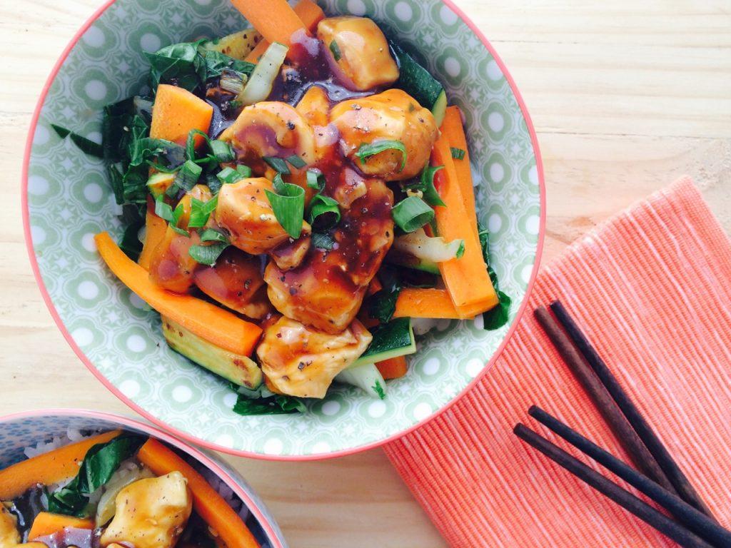 Low FODMAP Chicken Teriyaki Inspired Stir-fry