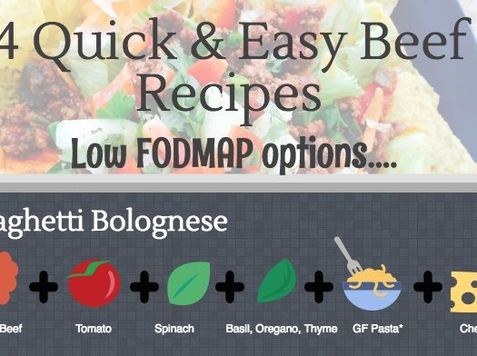 4 Quick & Easy Beef Recipes (Low FODMAP Infographic)