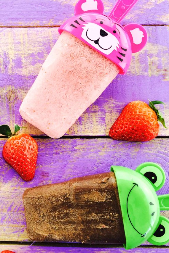 Low FODMAP Banana Chocolate and Strawberry Popsicles