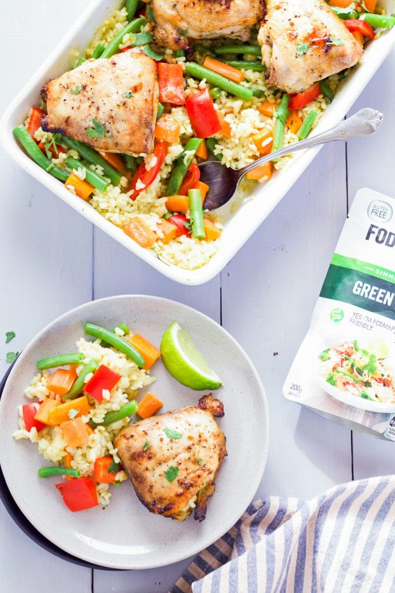 Low FODMAP Crispy Chicken with Green Curry Casserole