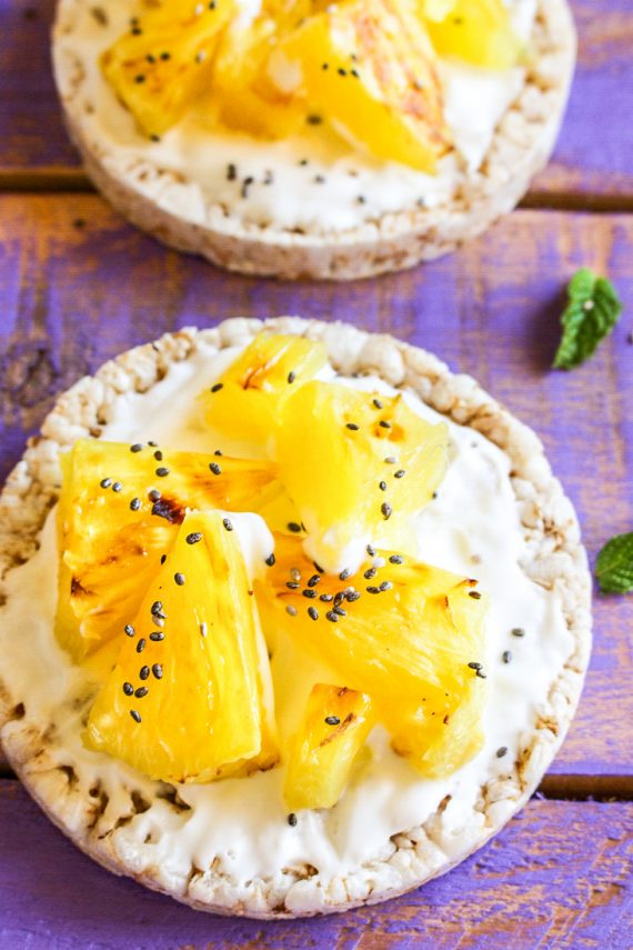 Low FODMAP Grilled Pineapple with Yoghurt And Rice Cakes