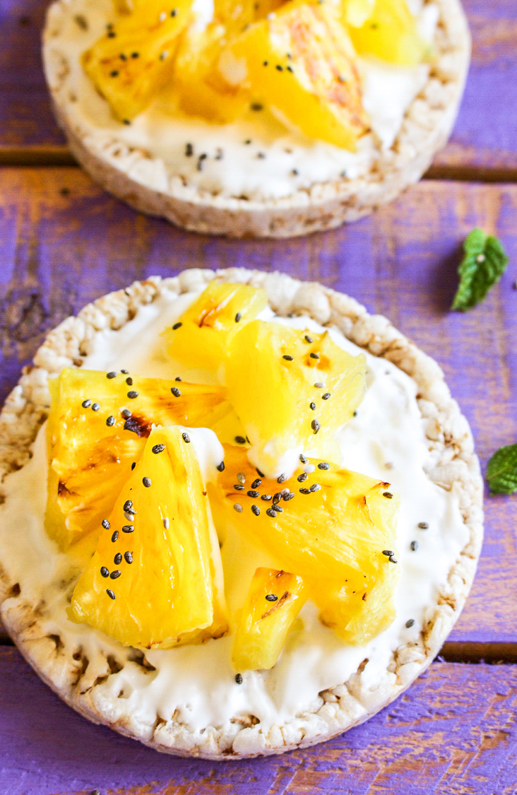 Grilled Pineapple with Yoghurt & Rice Cakes - A Little Bit ...