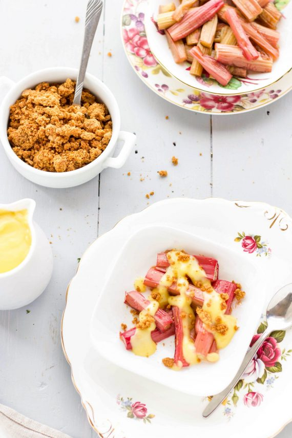 Low FODMAP Roast Rhubarb with Custard And Ginger Crumbs