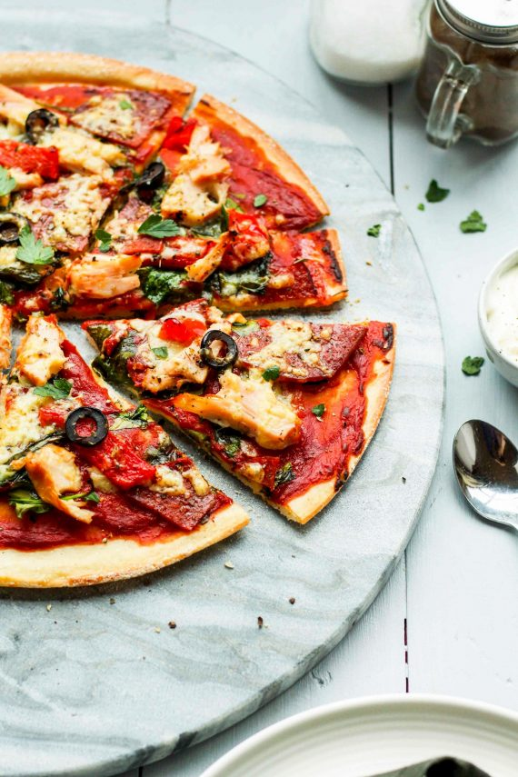 Low FODMAP Salami and Smoked Chicken Pizza