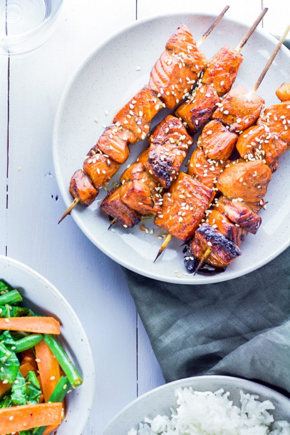 Low FODMAP Sweet And Sticky Salmon Skewers