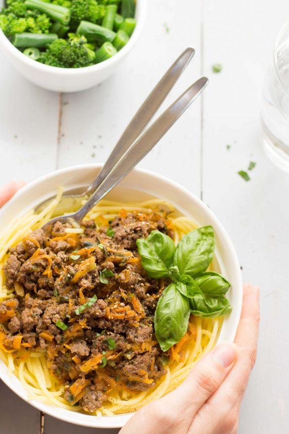 Low FODMAP Tomato Free Spaghetti Bolognese