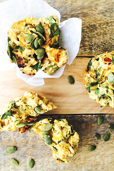 Low FODMAP Pumpkin, Spinach and Sundried Tomato Muffins