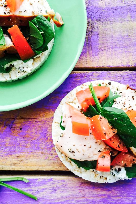 Rice Cakes with Chive Dip And Smoked Chicken (Low FODMAP)
