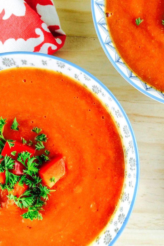 Low FODMAP Sweet Red Pepper Soup