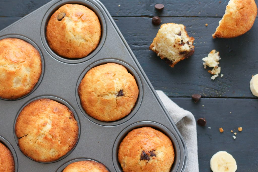 Low FODMAP Banana Chocolate Chip Muffins (Landscape)