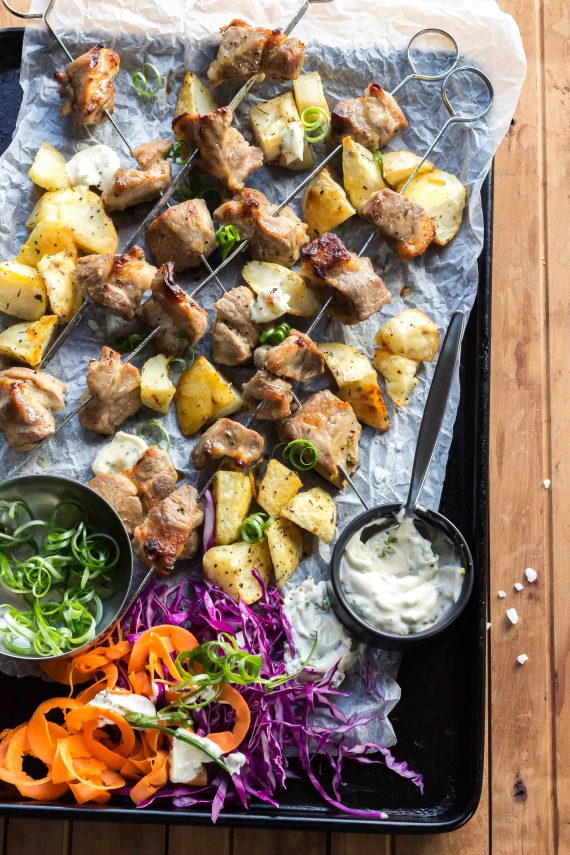 Low FODMAP Orange Thyme Pork Skewers with Slaw