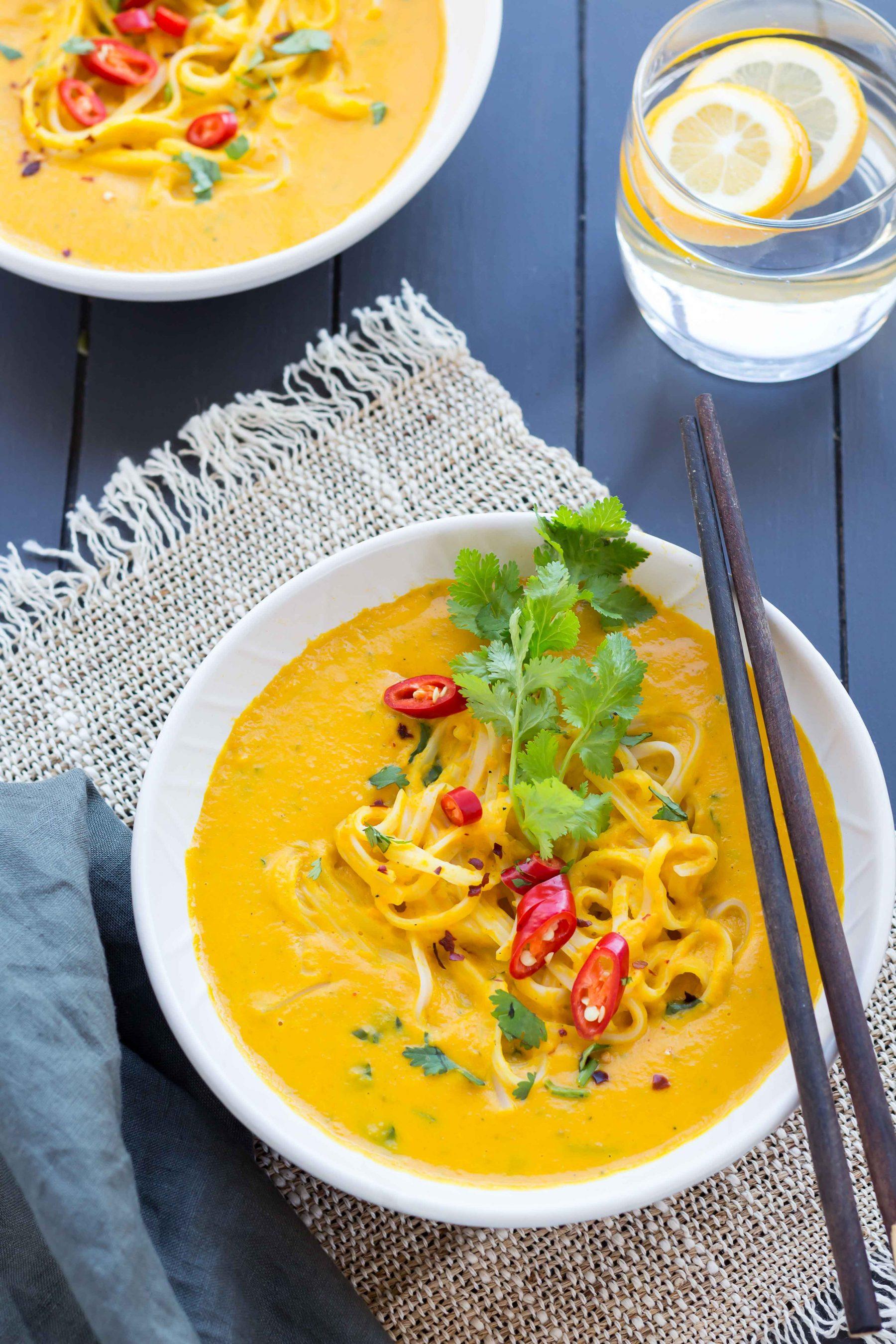 Low FODMAP Thai Pumpkin Noodle Soup