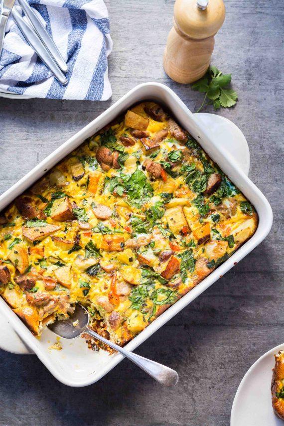 Low FODMAP Roast Veggie & Sausage Breakfast Casserole
