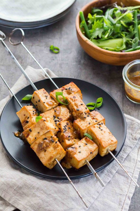 Low FODMAP Miso & Chili Tofu Skewers
