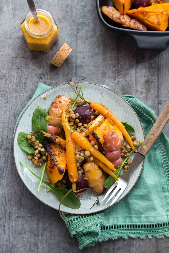 Low FODMAP Orange Miso Roast Veggie & Lentil Salad