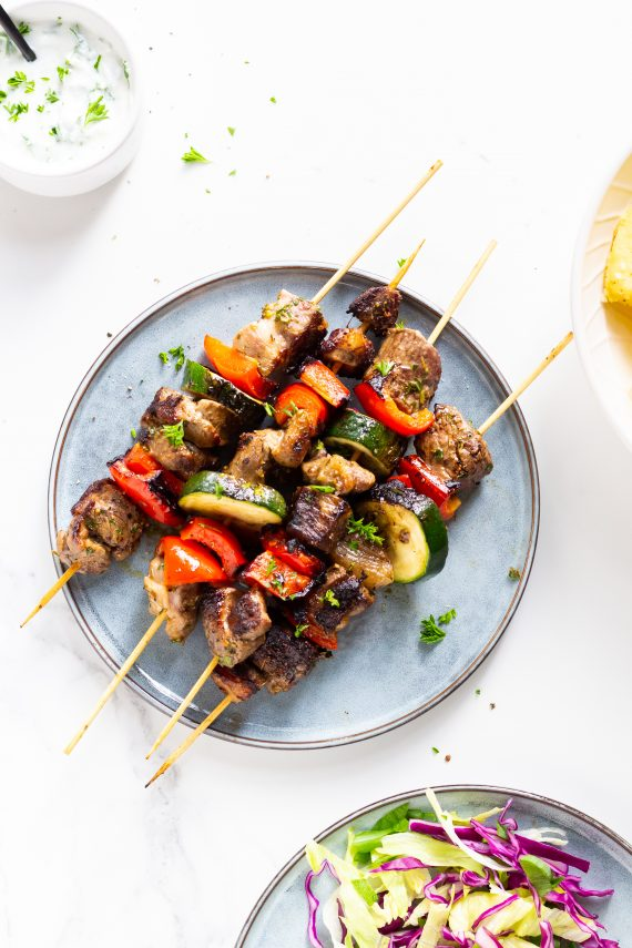 Low FODMAP BBQ Lamb Skewers with Yoghurt Dressing