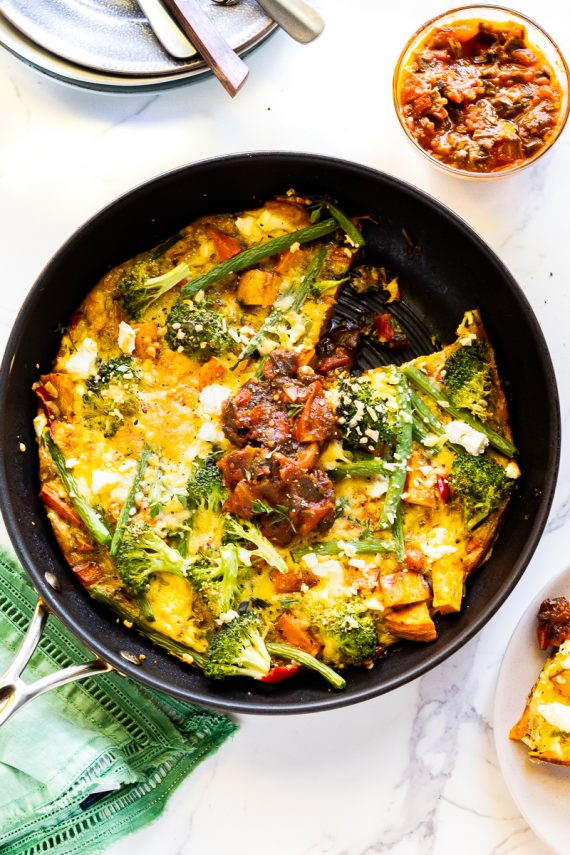 Low FODMAP Roast Veggie & Green Bean Frittata
