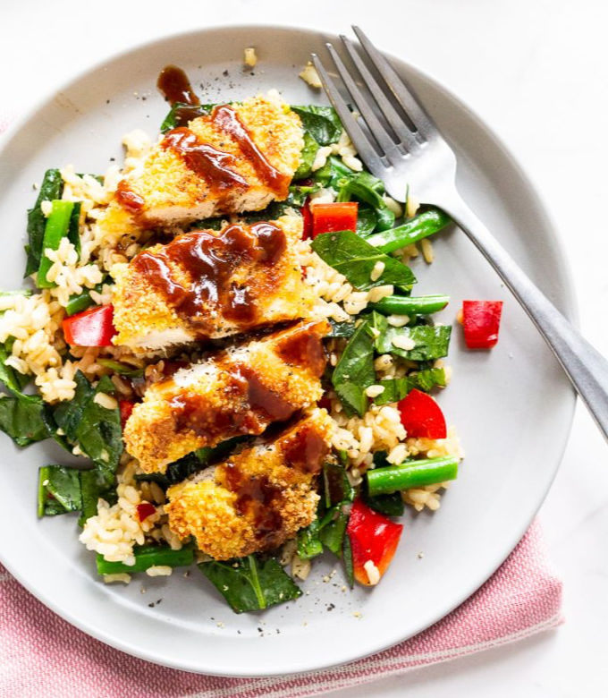 Low FODMAP Chicken Katsu with Brown Rice Salad