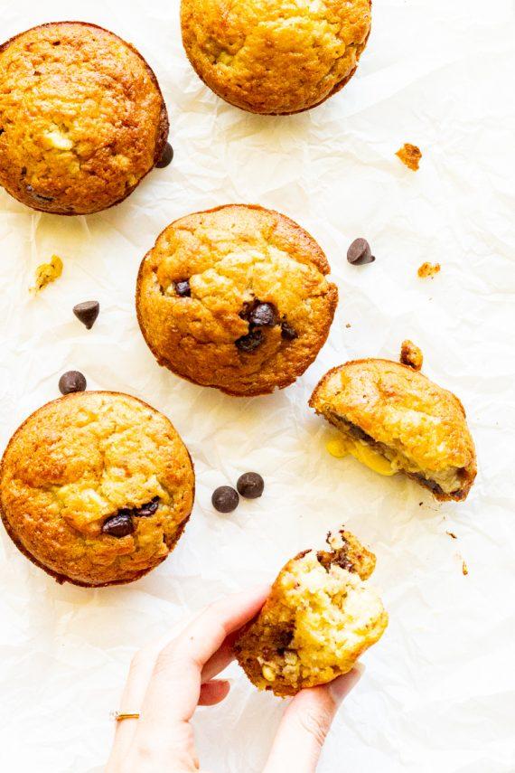 FODMAP Banana Chocolate Chip Muffins