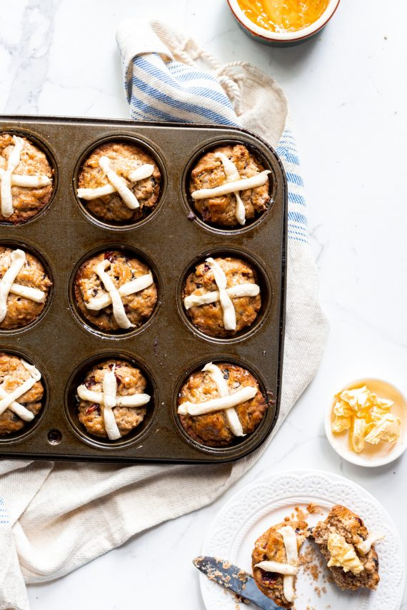 Low FODMAP Hot Cross Bun Muffins