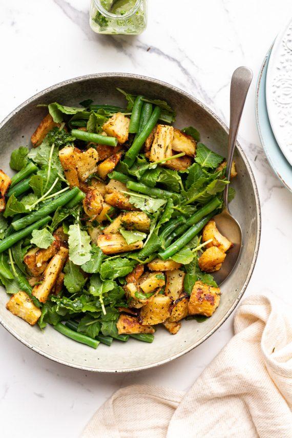 Low FODMAP Roasted Parsnip Kale Green Bean Salad